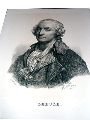 Lithographie originale du 19e siècle. Portrait de Creuze dessiné par Hesse et ...