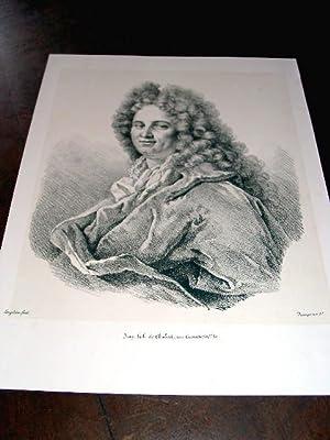 Lithographie originale du 19e siècle. Un Portrait lithographié par: LITHOGRAPHIE