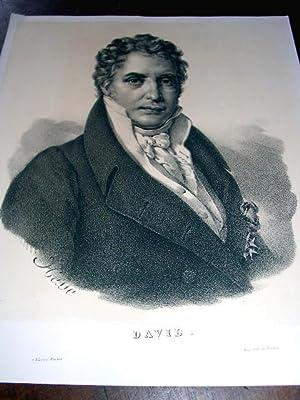 Lithographie originale du 19e siècle Portrait de David, dessinée par: LITHOGRAPHIE