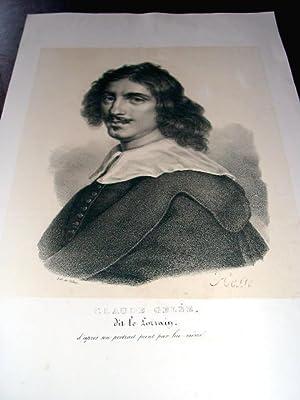 Lithographie originale du 19e siècle Portrait de Claude Gelée, dit le: LITHOGRAPHIE