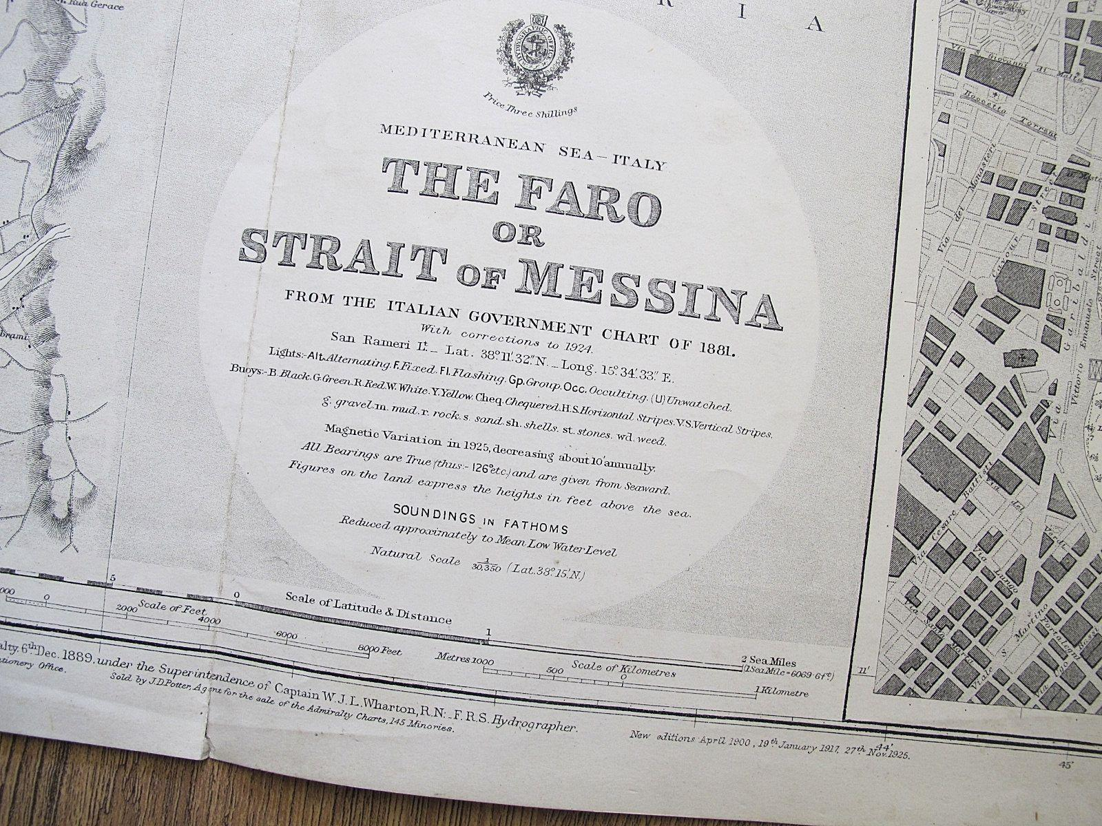 1881 ITALY THE FARO OR STRAIT OF MESSINA OLD