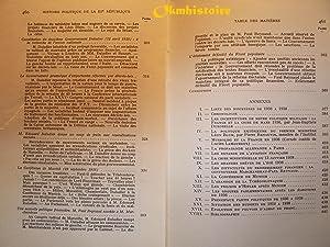 HISTOIRE POLITIQUE DE LA TROISIÈME RÉPUBLIQUE ------ Tome 6, Vers la guerre : de ...