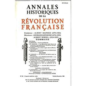 Annales historiques de la Révolution Française .: Société des Etudes