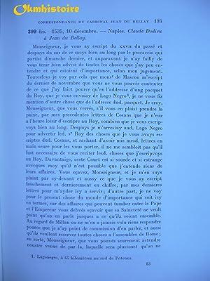 Correspondance ( 1535-1536 ) ------------ TOME 2: DU BELLAY ( Cardinal Jean ) [ édité par Rémy ...