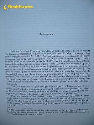 MEA CULPA . Version préparatoire et texte définitif. Edition d'Henri Godard avec...
