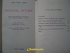 JOURNAL INTIME . ----- Tome 4 ( Décembre 1860 à Mai 1863 ): AMIEL ( Henri-Frédéric ) ...