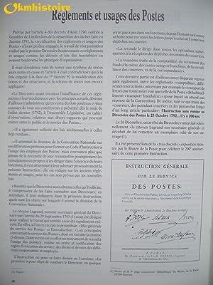 1790 - 1792 . La réforme de l'Administration des Postes . L'Oeuvre du 1er ...