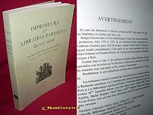 Imprimeurs et Libraires Parisiens du XVIe siècle. --------- TOME 6: RENOUARD ( Philippe )