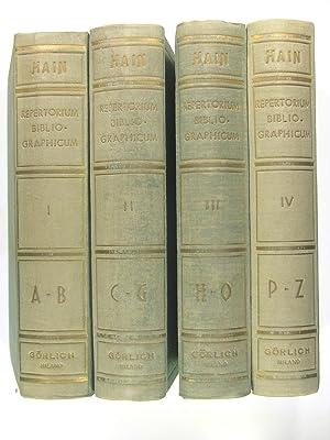 Repertorium bibliographicum, in quo libri omnes ab: HAIN Ludovici