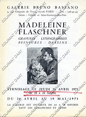 MADELEINE FLASCHNER. GRAVURES-LITHOGRAPHIES-PEINTURES-DESSINS. 26/04/1973. (Weight= 10 grams): PAR BRUNO BASSANO.