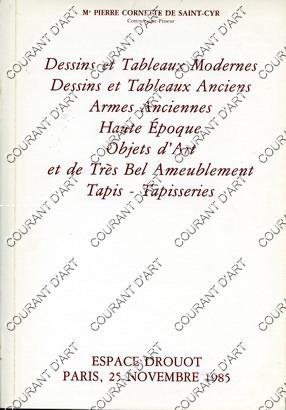 DESSINS ET TABLEAUX MODERNES ET ANCIENS. ARMES: ESPACE DROUOT. SALLE