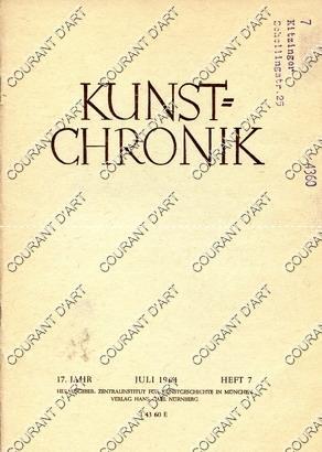 KUNST=CHRONIK. 17. JAHR. JULI 1964. HEFT 7.: PAR HILDE CLAUSSEN.