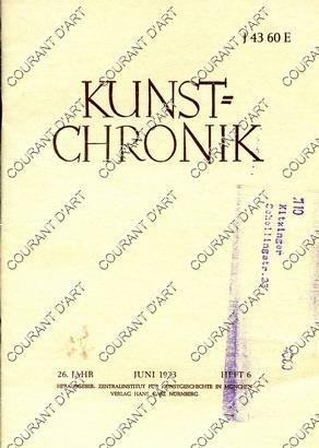 KUNST=CHRONIK. 26. JAHR. JUNI 1973. HEFT 6.: PAR MONIKA STEINHAUSER.