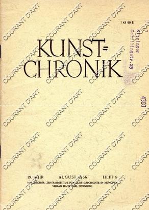 KUNST=CHRONIK. 19. JAHR. AUGUST 1966. HEFT 8.: PAR HANS REUTHER.