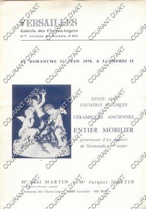 FAIENCES ET PORCELAINES ANCIENNES. PORCELAINES DE LA: GALERIE DES CHEVAU-LEGERS
