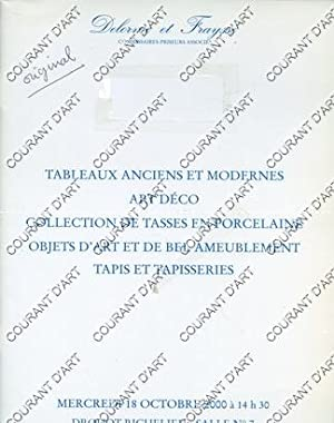 TABLEAUX ANCIENS ET MODERNES. COLLECTION DE PORCELAINE: DROUOT RICHELIEU. SALLE