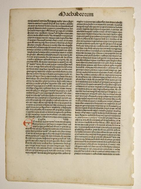 Biblia. (GW 4255, HC 3091). Machaberum Cap.