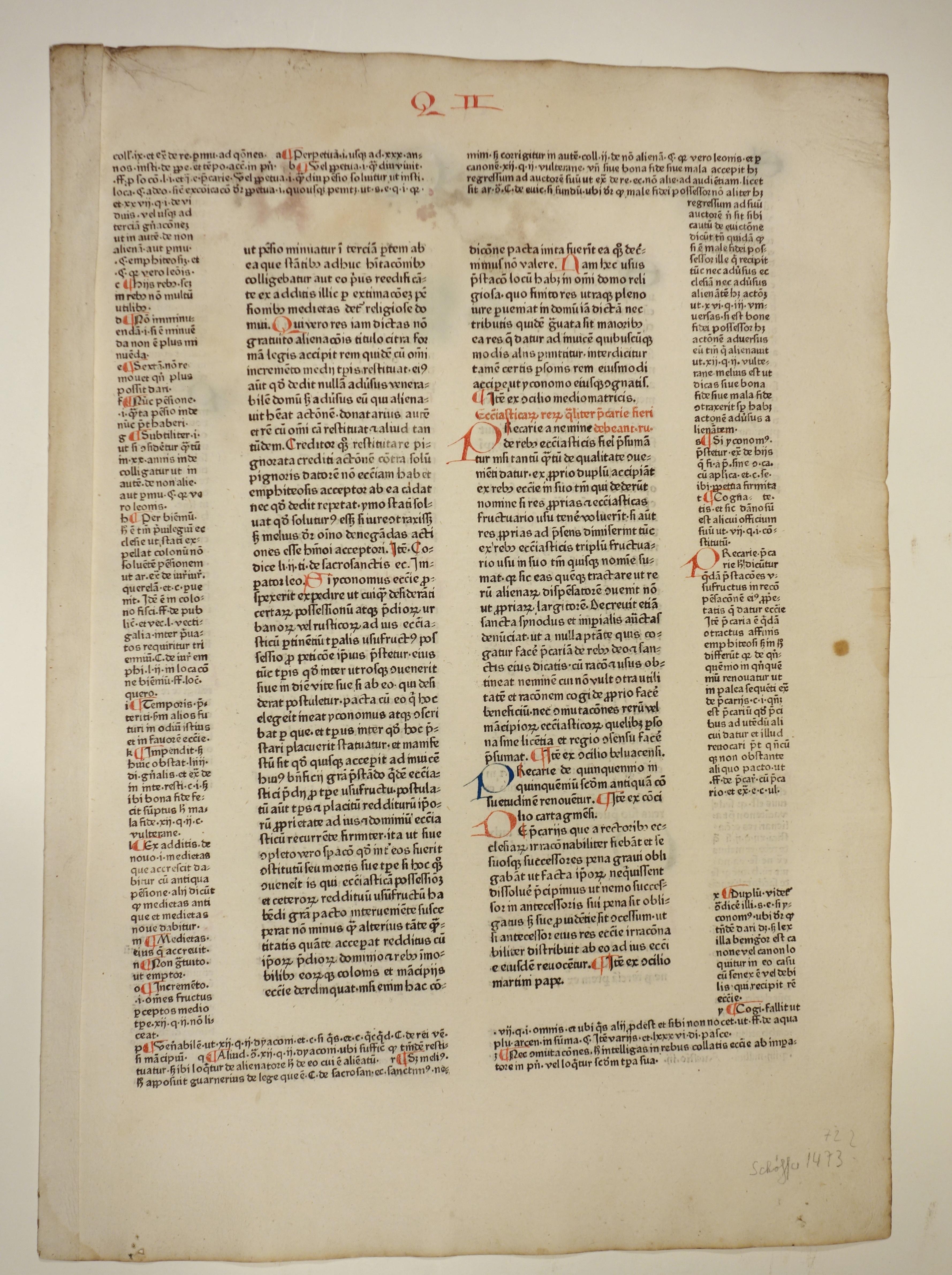 Decretum. Mit Kommentar von Johannes Teutonicus und: Gratianus: