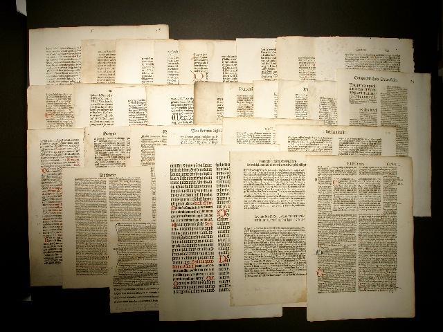 Inkunabel-Blätter von 24 verschiedenen deutschen Druckern aus: Konvolut - convolut: