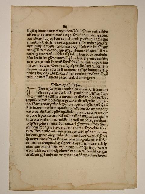 Postilla super evangelias et epistola.(GW 11948, H: Guillelmus Parisiensis (Johannes