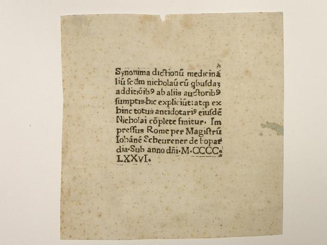 Antidatorium cum additionibus (Colophon mit Angabe von: Nicolaus (Salernitanus):