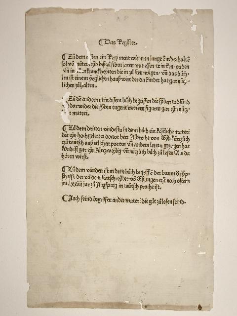 Registerblatt zu einem Sammelband von vier Drucken