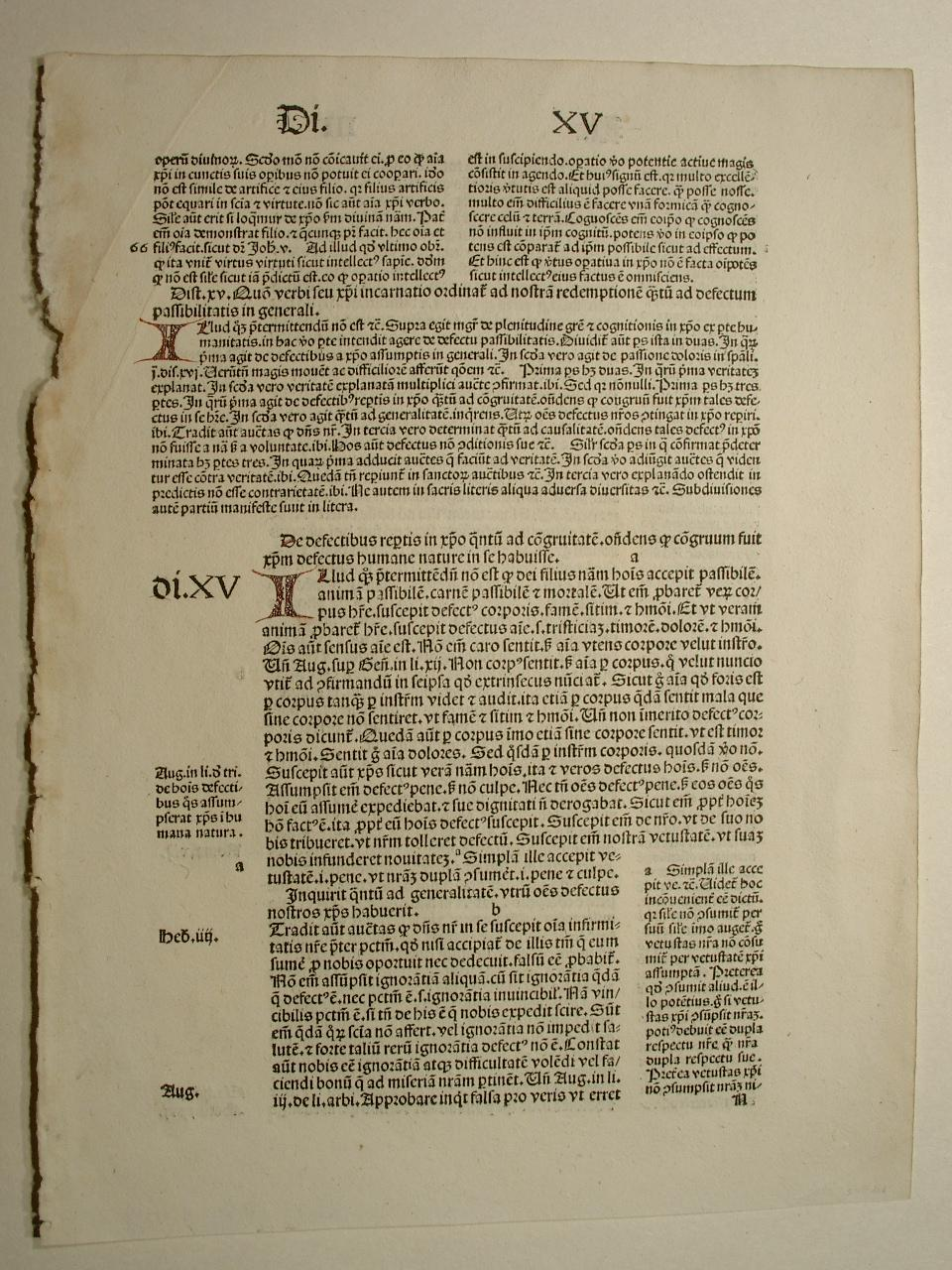 Sententiarum libri III, Di. XV (GWM 32527,: Petrus Lombardus: