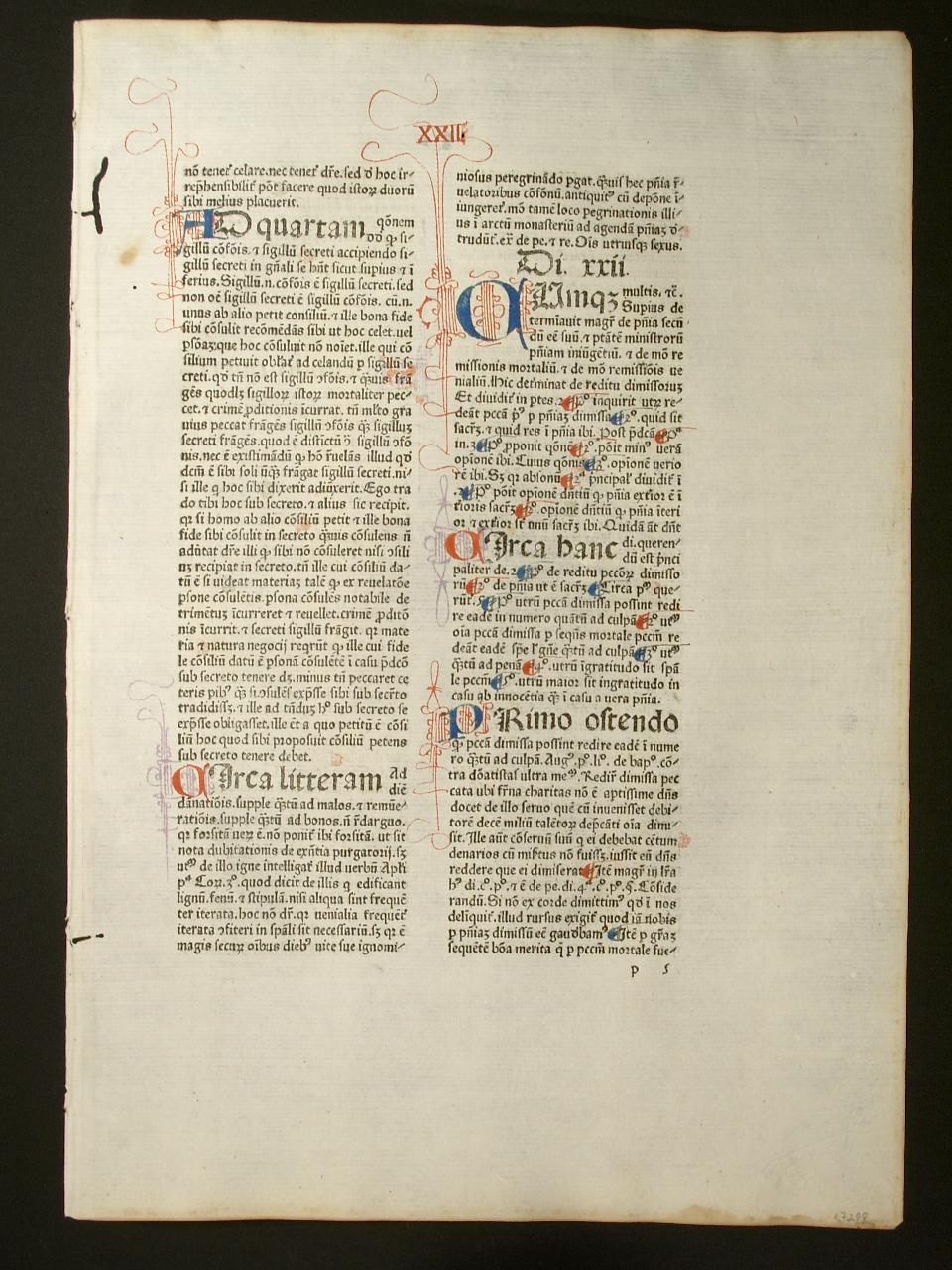 Super IV. sententiarum. Di. XXII. (GWM 22509,: Richardus de Mediavilla: