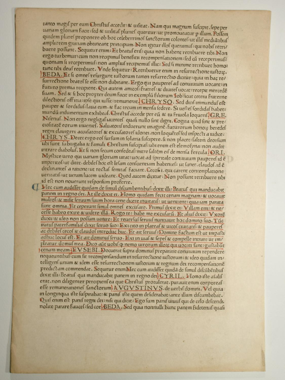 Catena aurea (GWM 46094, HC 1330). Blatt: Thomas de Aquino: