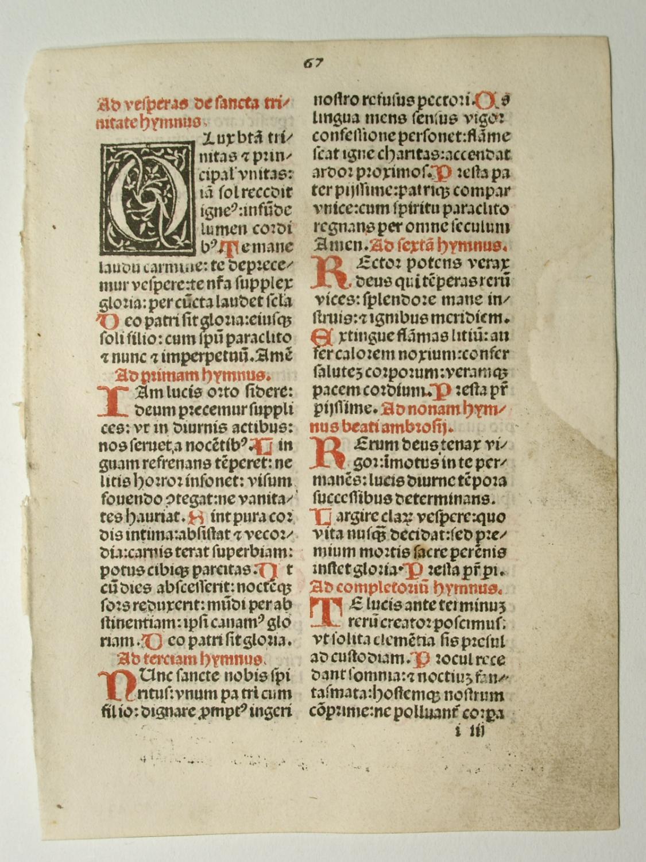Breviarium Augustanum. Blatt 67: Ad vesperas de