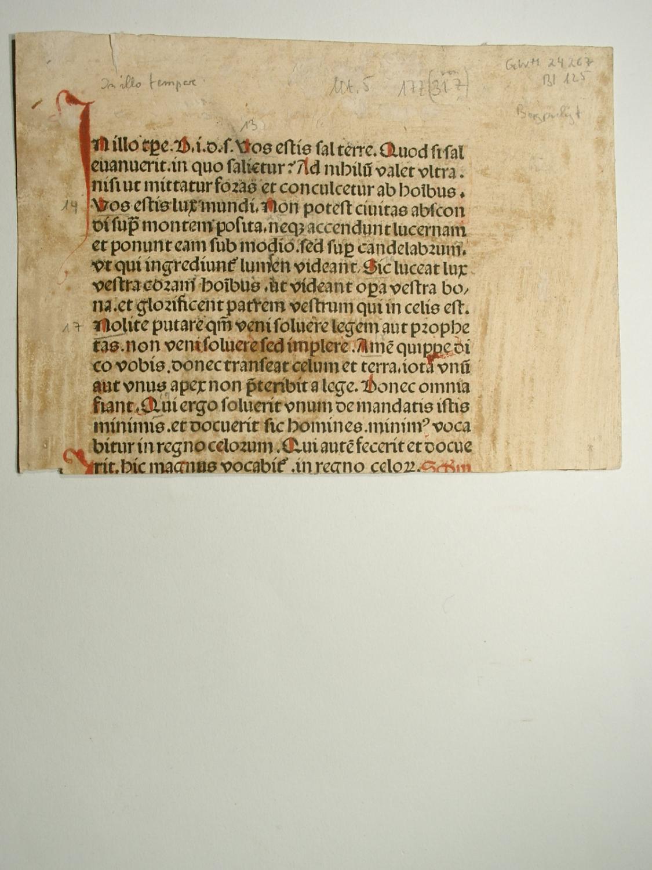 Missale Basiliense. Blattfragment. (GWM 24267, CR 4089).