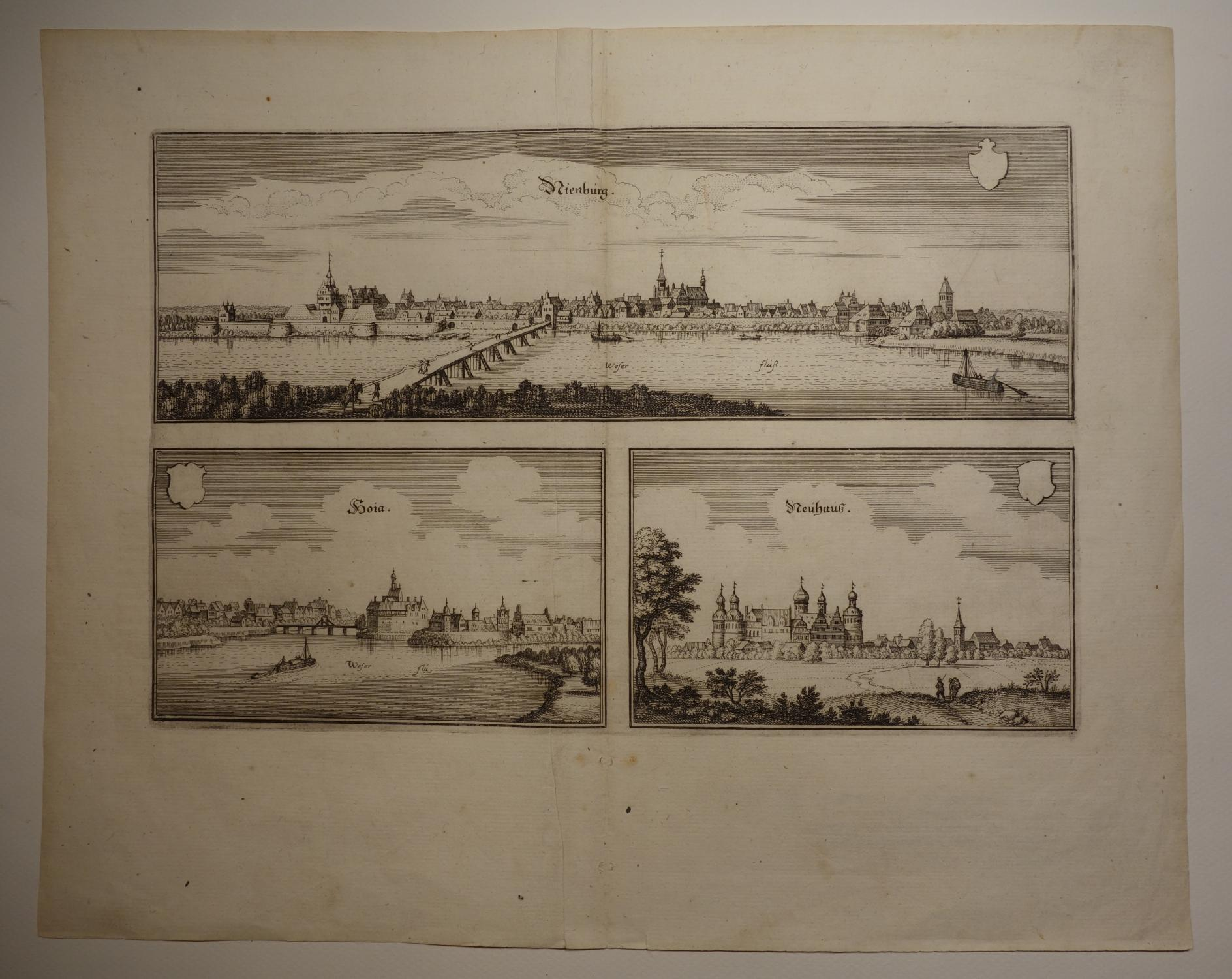 Ansicht von Nienburg, Hoia und Neuhauß. (Wüthrich: Matthaeus Merian: