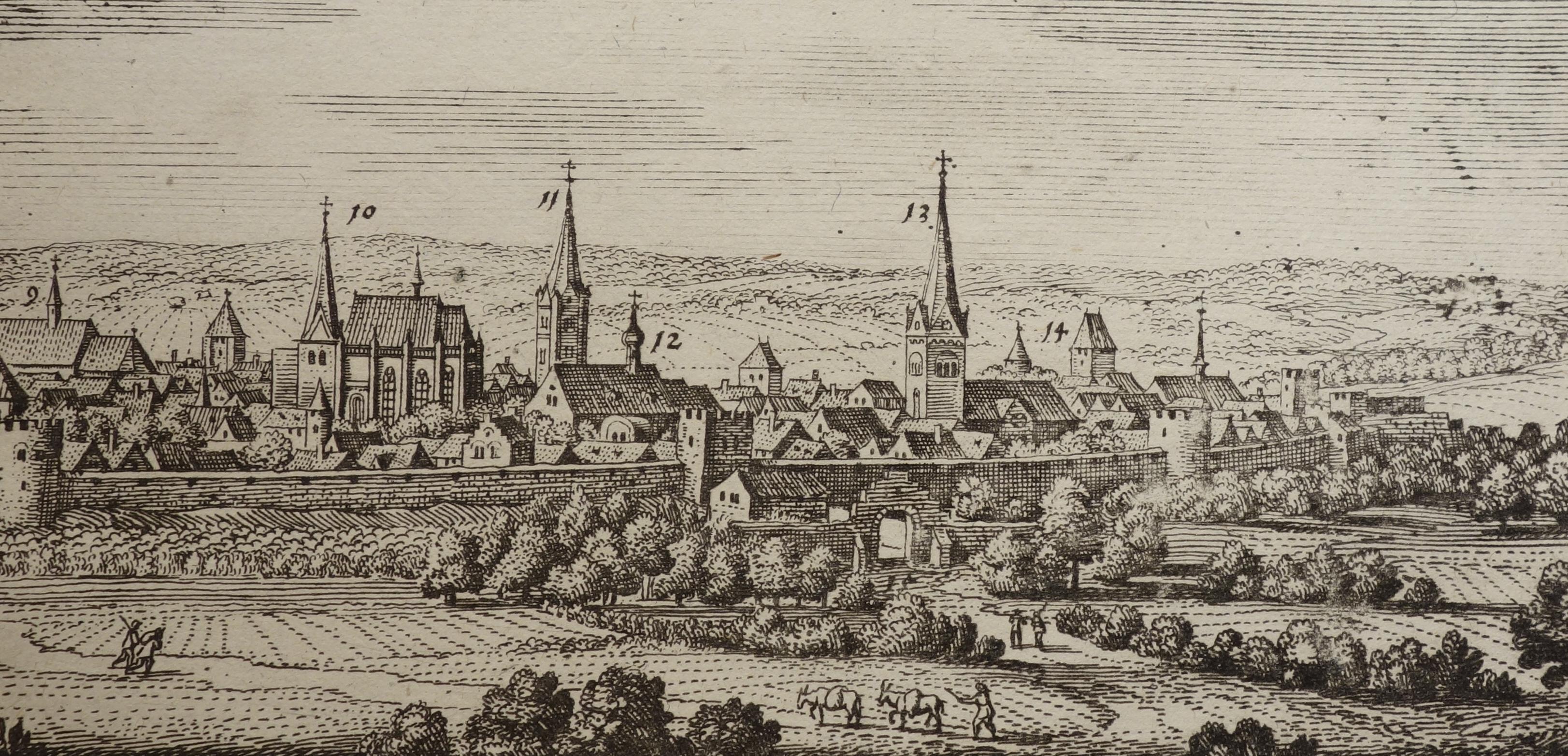 Ansicht von Osnabrugum Ossenbrück (Osnabrück) und Susathum: Matthaeus Merian:
