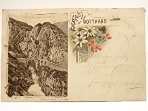 Postkarte Gruss vom Gotthard - Teufelsbrücke.