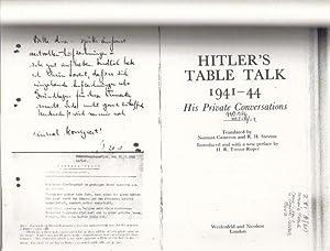HITLER'S TABLE TALK 1941-44.: H. Trevor-Roper.