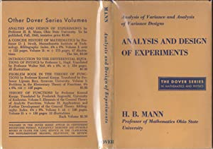 Analysis and Design of Experiments: Analysis of Variance and Analysis of Variance Designs