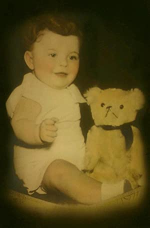 ANTIQUE VINTAGE CUTE BABY BOY TEDDY BEAR TOY DOLL ANGEL LARGE COLORED PHOTO