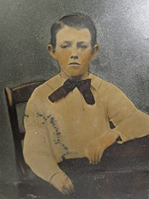 ANTIQUE VICTORIAN AMERICAN FOLK ART TINT COLOR TINTYPE FULL PLATE PHOTO CUTE BOY