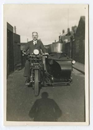 ANTIQUE VINTAGE 1934 MOTORCYCLE BIKE SIDECAR ARTISTIC SHADOW PHOTOGRAPHER PHOTO