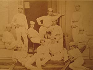 ANTIQUE 1869 BEAUMONT CRICKET 11 ETON CDV EARLIEST UK TEAM PHOTO  BLACK  PLAYER