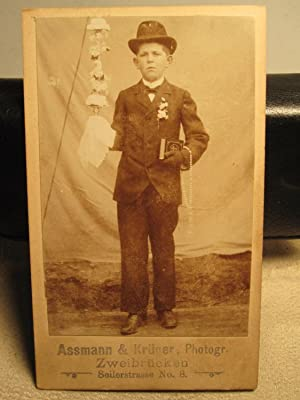 ANTIQUE THE ASSMAN KRUGER YOUNG BOY BIBLE ORNAMENT ZWEIBRUCKEN GERMAN CDV PHOTO
