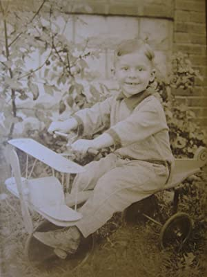 VINTAGE ANTIQUE TOY PLANE AIRPLANE PILOT BIPLANE CUTE YOUNG BOY OLD PHOTO