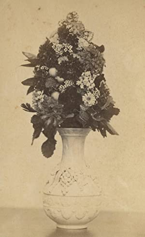 ANTIQUE VICTORIAN AMERICAN ARTISTIC MOURNING FLORAL VASE NATICK MA CDV PHOTO