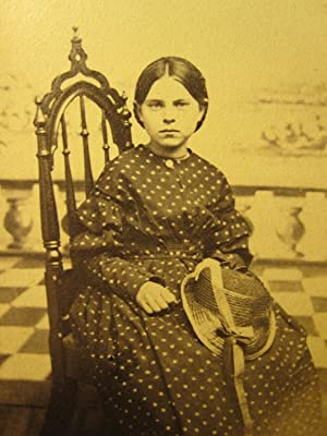 CIVIL WAR ERA YOUNG AMERICAN GIRL DRESS FASHION STRAW HAT RIBBON ARTISTIC PHOTO