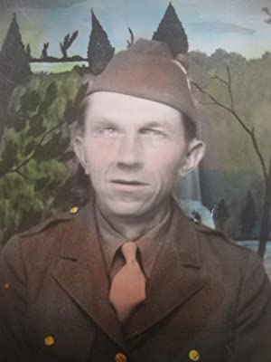 VINTAGE WW2 AMERICAN MAN SOLDIER PAINTED PAINTING BACKDROP HAND COLORED PHOTO