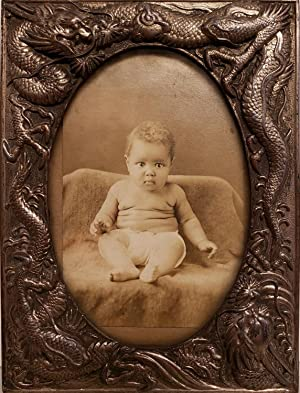 ANTIQUE AFRICAN AMERICAN BABY BOY SILVER BRONZE CHINESE REPOUSSE OLD FRAME PHOTO