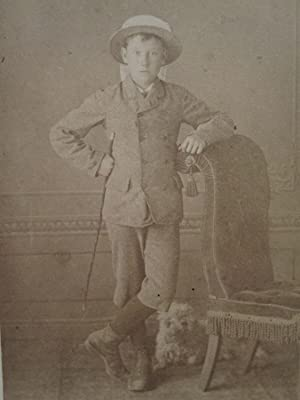 ANTIQUE HIDDEN DOG  SHEEP  POSING STAND HAMPSHIRE HANTS UK YOUNG BOY CDV PHOTO