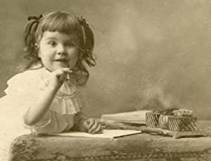 ANTIQUE BABY GIRL WRITER INK INKWELL CABINET CARD JOLIET IL GRIFFING FINE PHOTO