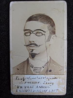 ANTIQUE EARLY OUTSIDER ART DEFACED MAN CDV DR KILLOCURE UNDERTAKER ANIMAL PHOTO
