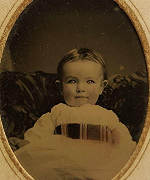 ANTIQUE CIVIL WAR ERA PERFECT BABY BLUE EYE 9 MONTHS ELLENVILLE NY TINTYPE PHOTO